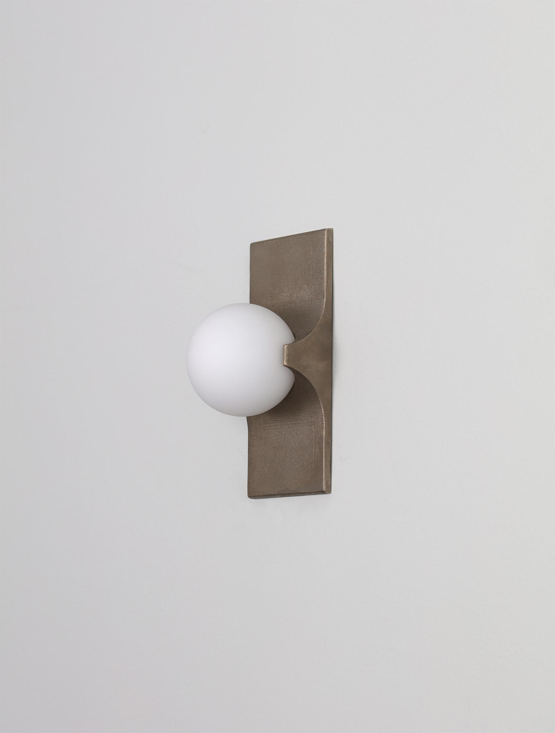 Bridge 1 shown in Cast Brass, Matte White Globe